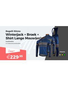 Rogelli Ritmo Fietsjack Fietsbroek en Fietsshirt Lange Mouwen Winterpakket